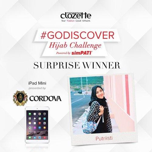 SELAMAT kepada Clozetter @putriisti!!! Kamu memenangkan sebuah iPad Mini persembahan dari Cordova Travel. Kirimkan data dirimu (Nama, Alamat, No.Hp, scan KTP) ke hello@clozette.co. Konfirmasi kami terima selambatnya sebelum tanggal 30 Agustus 2015. Sekali lagi, selamat, ya!! Bagi peserta lain, tetap stay tune di akun social media ClozetteID, siapa tahu kamu adalah pemenang hadiah utama Hijab Challenge kali ini!  #ClozetteID #hijabstyle #hijaboftheday#hijabfashion #hijabootdindo#hijaboftheworld #hijaboftheday