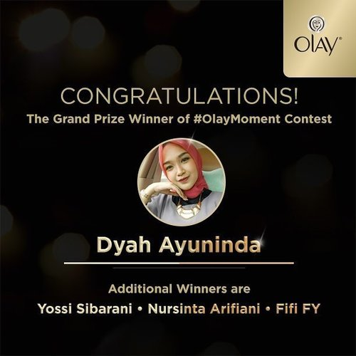 "Ini dia yang ditunggu-tunggu.. Pemenang #OlayMoment Insta Quiz!! *drumroll*Congratulation to: @dyahayuninda as the Grand Prize winner!!@yossisibarani10 @nursintarifiani @fififeby as the additional winner!! Selamat ya! Segera kirimkan data diri (Nama, Alamat, No telp, Akun IG, Akun Clozette dan Scan/Foto KTP) ke hello@clozette.co dengan subyek: ""Olay Moment Winner"" paling lambat 3 Desember 2016.#Olaymoment #ClozetteID #ClozetteIDXOlay"