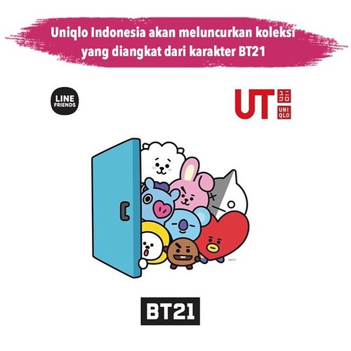 """<div class=""""photoCaption"""">Calling all Indonesian Army! Uniqlo akan meluncurkan koleksi terbarunya yang diangkat dari karakter BT21 yang merupakan karakter dalam Universtar yang diciptakan oleh BTS bersama tim kreatif LINE.<br /> <br /> Koleksi ini bisa kamu dapatkan di seluruh toko Uniqlo di Indonesia mulai 21 Juni 2019 nanti. 📷 @uniqloindonesia<br />  <a class=""""pink-url"""" target=""""_blank"""" href=""""http://m.clozette.co.id/search/query?term=ClozetteID&siteseach=Submit"""">#ClozetteID</a>  <a class=""""pink-url"""" target=""""_blank"""" href=""""http://m.clozette.co.id/search/query?term=ClozetteIDCoolJapan&siteseach=Submit"""">#ClozetteIDCoolJapan</a></div>"""
