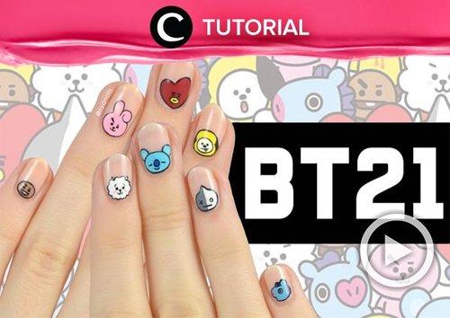 Fans boy band Korea BTS pasti sudah tak asing lagi dengan karakter BT21, kan? Kamu bisa mengaplikasikan karakter-karakter ini di kukumu, lho! Intip caranya di: http://bit.ly/2Xhxtt6. Video ini di-share kembali oleh Clozetter @ranialda. Lihat juga tutorial lainnya di Tutorial Section.