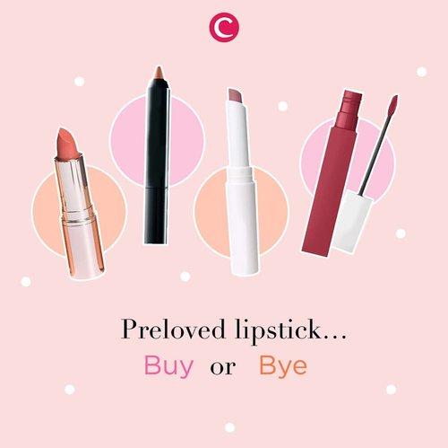 Siapa di sini yang hobi beli preloved make up? Preloved make up memang bisa jadi solusi untuk kamu yang masih dalam proses mencari produk yang cocok. Tapi, bagaimana dengan preloved lipstick? Buy or bye? Berikan pendapatmu di kolom komentar, ya, Clozetters! #ClozetteID