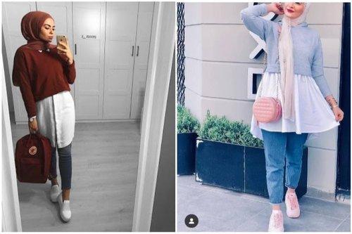 5 OOTD Gaya Hijab Kekinian Dengan Sweater Crop Yang Bisa Dibuat Sopan Dan Tetap Stylish