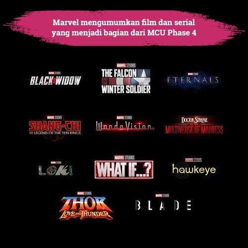 Who's excited?! Setelah menyelesaikan Avenger: Endgame dan Spiderman: Far From Home, Marvel resmi merampungkan Phase 3 dan mulai memasuki Marvel Cinematic Universe Phase 4.Inilah beberapa film dan serial yang akan menjadi bagian dari MCU Phase 4. Marvel memberikan bocoran ini di acara San Diego Comic-Con 2019 kemarin. Tak hanya memberikan bocoran soal judul dan logo, Marvel juga memberi tahu tentang jadwal penayangannya yang kebanyakan akan tayang di tahun 2020 dan 2021.Apa film atau serial yang paling kamu tunggu-tunggu dari MCU Phase 4 ini, Clozetters? 📷 @marvel#ClozetteID #marvel #mcu #mcuphase4