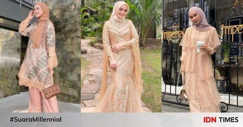 10 Ragam Baju Kondangan Hijab Warna Peach, Nampak Segar di Pesta!