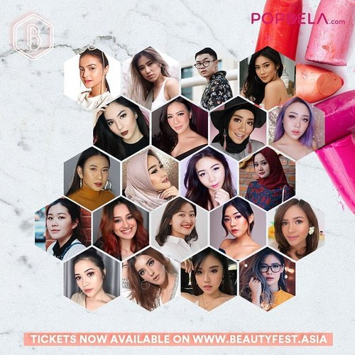 There's 16 Local Beauty Creators (and MORE to be announced!!!) at #BeautyFestAsia2018! You can meet the all. Have you spotted your favorites? 👀.Get your tickets now, http://beautyfest.popbela.com/, Tickets also available on Loket.com#ClozetteID