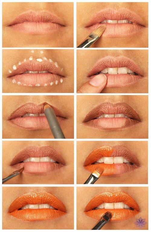 Orange Lipstick Tutorial