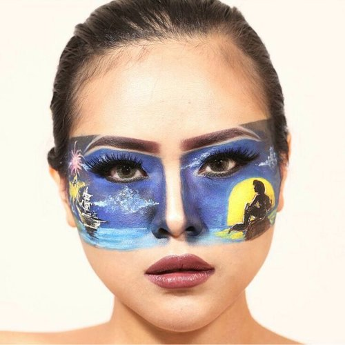 Little Mermaid Silhouette 😉😉 Yas, what do you think about this look?. . . @globalcolours face painting blue, yellow, white  @mehronmakeup setting powder @urbandecaycosmetics Neon Eyeshadow palette @nyxcosmetics_indonesia Auto Eyebrow Brunette, Liquid Suede Vintage @lagirlindonesia Pro HD Concelear Creamy beige, Settingspray All brush using @sigmabeauty . . . #halloweenideas #halloweenmakeuplook #halloweenmakeup #littlemermaid #arielmermaid #silhouette #clozetteid #lykeambassador #beautynesiamember #lagirlbeautyinfluencer #mehron #global #facepainting #indobeautygram @indobeautygram #wakeupformakeup #instamakeup #makeupwithregina #fantasymakeup #fxmakeup #creativemakeup #bodypaint #ibvsfx #sfxindonesia#disneymakeup