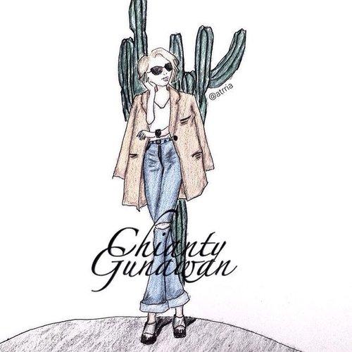 // 🌿🌿🌿 artwork by me of my muse: @chiantygunawan hope you like it!! 🌿🌿🌿🌿 // #clozetteid #fashionillustration #ootd