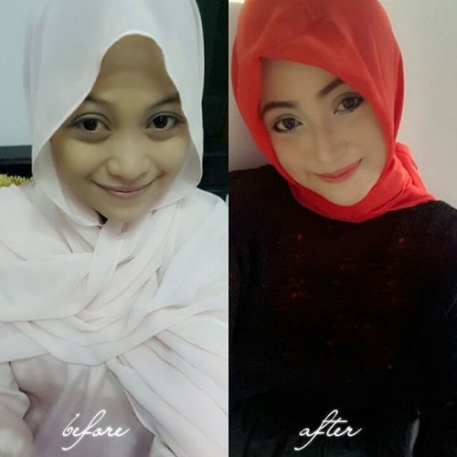 the power of make up 😆#clozetteid #godiscover #silkygirl#diaryhijaberindonesia #hijabme #hijabday #beforeafter #makeup #beforeandafter #red #black #blackandred