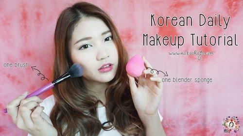 [Violet Brush] Korean Daily Makeup Tutorial using only One Blender Sponge & One Brush! - YouTube