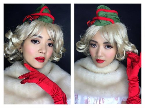 """Pin up look from the 50's 😍  Nothing impossible with makeup, turn an Asian girl into pin up girl 😉❤️ MUA : @catharina_zieren 😉  Model : My lovely friend from Myanmar """"Pa Pa"""" ❤️ #blogger #thepowerofmakeup #instagram #makeupjunkie #makeuplover #makeover #instabeauty #instamakeup #indonesianlivinginbangkok #scandinavianmakeupacademy #bangkok #thailand #jakarta #indonesia #muaindonesia #ootdid #pinupgirl #historymakeup #clozetteid #starclozetter #makeupartist"""
