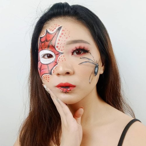 Spiderman or Spiderwoman??? 😂😂 . . Product details Imagic Facepaint palette @mehronmakeup Paradise @tasyafarasya The Needs Palette @artistry_indonesia Eyeshadow Palette @romandyou Lip Driver @chicaychico_official Eyeliener @purbasarimakeupid Brow . Lashes @loreca.lashes . Inspired @abbyrobertsartistry @nikkietutorials . . . . . . . . . #luellaartistry #luellamakeup #spidermanmakeup #spidermantransformation #spidermanmakeuplook #artsymakeup #makeuppemula #makeupremaja #makeupnatural #makeuptransformation #tutorialmakeup #beautyvlogger #beautybloggerindonesia #beautybloggerbandung #beautyvloggerbandung #bandungbeautyblogger #bandungbeautyvlogger #clozzetebeauty  #Clozetteid