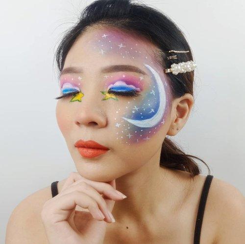 Pengen jalan jalan di langit.. Duduk di awan terus liat bintang ama bulan 😂😂 #apasihngimpi wkwkwkwk . Inspired @astaririri @sarinanexie . Hairpin @amarette.id . Tutorial nya ada! SOON yak ❤ . . . . . #luellaartistry #luellatutorial #rainbowmakeup #colorfulmakeup #pridemakeup #artsymakeup #makeuppemula #makeupremaja #makeupnatural #makeuptransformation #tutorialmakeup #beautyvlogger #beautybloggerindonesia #beautybloggerbandung #beautyvloggerbandung #bandungbeautyblogger #bandungbeautyvlogger #clozzetebeauty  #Clozetteid