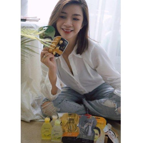 Happy monday..  I will focus on what make me happy  Dan kebahagiaanku ada ketika menerima paket hampers dari @ovalebeautyid dan @ellips_haircare  Makin semangat merawat diri🥰🥰 #glowwithovale #hairlittlesecret #shantyhuang #beauty #makeup #selfie #beautyblogger #beautybloggerindonesia #beautyandhairdiaries #tampilcantik #love #koreanmakeup #jakartabeautyblogger #clozettedaily #clozetteid