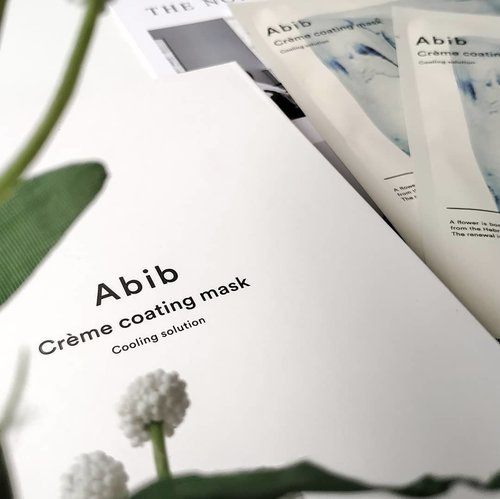 "Abib Crème Coating Mask - Cooling Solution . Another unique mask that I discovered earlier this year. What's the uniqueness of this mask? The regular sheet mask is submerged in essence, while this mask is coated with cream essence. This is certainly more practical and reduce the mess due to the drippings essence. . This cooling solution variant claims to cool down your skin temperature & soothe irritated skin, it seems to be very suitable for use during summer & for sensitive skin. . Packed in plastic which is bigger than the usual sheet mask packaging. When I opened the packaging, I found another clear plastic package inside. 2 pieces type, each sheet are protected with film. When I open the protective film, it feels like peeling off a sticker and then sticking it on my face. It felt very strange at first, but later I found out that this was a fairly easy and practical way, and no more messy essence. . I thought that this mask would have a cooling sensation, seeing some soothing ingredients like Centella Asiatica & Tea Tree, but apparently during the use I didn't feel any cooling sensation. . After 20 minutes I took the mask and the cooling sensation suddenly appears and I love it! when I massage the remaining creamy  essence it turns into water droplets, and it's so soothing! . How was the results? As its claim! This mask instantly reduces the redness and cool down my irritated skin, besides that my skin feels moist and well hydrated. . I highly recommend this mask, for those of you who don't like ""wet"" sheet masks and need a good mask for skin irritation. . I'll be back with the other variant, the tone-up solution, see ya 😏 . . #abib #creamecoatingmask #abibmask #abibsheetmask #kbeauty #koreanbeauty #kskincare #koreanskincare #koreanmask #koreansheetmask #clozetteID #bloggirlsid #kbbvmember #beauty #beautyblogger #beautyreview #beautycommunity #skincare #skincarereview #skincarecommunity #skincareroutine #skincarediary #skincarelover #sheetmask #sheetmaskreview #mask #maskreview #sheetmasklover #sheetmasksddict"