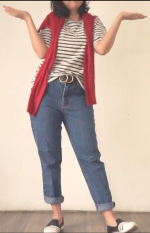 First trial, how to style your denim pants for #ootd #ClozetteID #fashion #denim