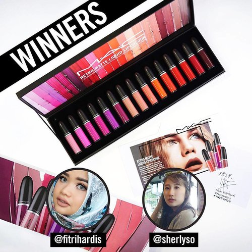 First of all I would like to say thank you so much for all submissions! All of you did amazing job and I loved watching you guys applying this amazing lippies with different shades😍  Please wait for another amazing giveaways in the future💕  And anw, Happy National Lipstick Day! Now I am delighted to announce the lucky winner chosen by the MAC team themselves!: @fitrihardis @sherlyso  Congratulation💕💕💕 Please DM me your contact and address on how you can collect this amazing giftbox from me!  #maccosmeticsid  #macretromatte  #makeitmatteid #nationallipstickday #clozetteid