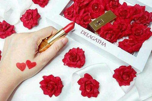 my ysl red lips for cny😍😘 #clozzeteid #ysl #redlips #lipstick