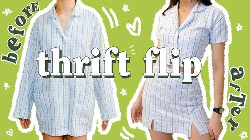 Thrift flip ep. 2: Thrifted large men's shirt to brandy melville inspired two piece set ✂️ - YouTube