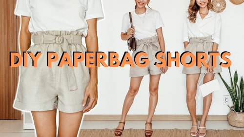 DIY Paperbag Shorts from scratch (High waist - Wide leg - Side pockets) | Simple sewing tutorial - YouTube