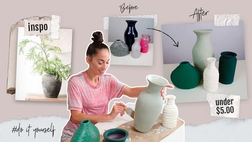 DIY Textured Clay Vases | Thrift Flip | Under $5 Ceramic Painted Restoration Hardware Inspired Vase - YouTube