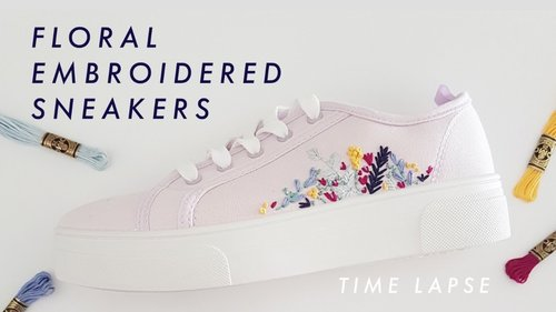 Spring Floral Embroidered Sneakers Timelapse + Pattern - YouTube