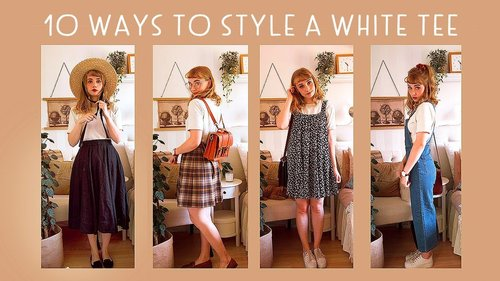 10 ways to style a white tee 🌿  // vintage inspired, cosy vibes - YouTube