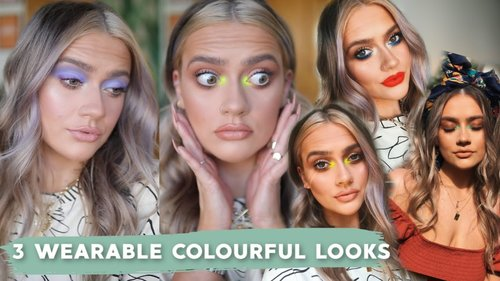 HOW TO 'PULL OFF' COLOURFUL MAKEUP! 3 QUICK & EASY LOOKS   PASTEL & NEON EYESHADOW!   EmmasRectangle - YouTube