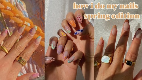 HOW I DO EASY SPRING NAILS | did it with my non-dominant hand too - YouTube