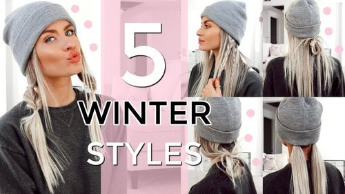 5 HEATLESS WINTER HAT HAIRSTYLES - EASY & QUICK! | LYSSRYANN - YouTube