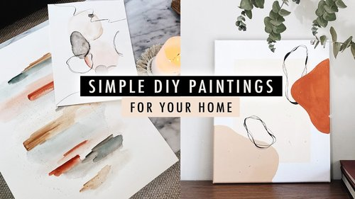 Simple DIY PAINTINGS (watercolor + acrylic art) | XO, MaCenna - YouTube