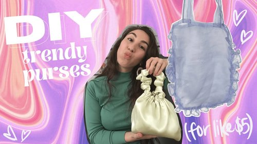 DIY Trendy Bags from Thrifted Fabrics! Bronze Age Scrunchie Bag & Ruffle Tote | Made by Mika - YouTube