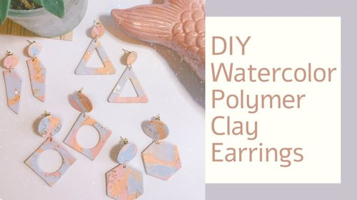 DIY Watercolor Pastel Abstract Polymer Clay Earrings Tutorial | How To Make Polymer Clay Earrings - YouTube