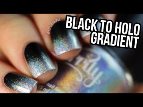 "<div class=""photoCaption"">Black To Holo Gradient DIY Nail Art Design Tutorial|| KELLI MARISSA - YouTube</div>"