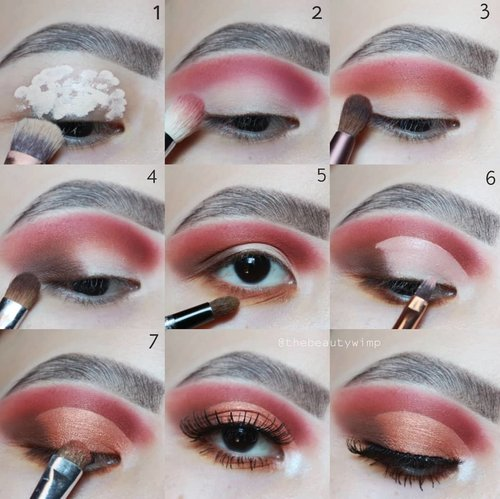 PICTORIAL!! . 1. Prime your eye, dont set it 2 Blend the red shade from the palette into the crease 3.Deepen the crease with a warm brown 4. Pack on a darker brown shade on outer corner 5.  Smoke out the lashline 6. Cut the crease halfway across the lid using concealer 7. Pack on a metallic/shimmery shade on top of the concealer 🌺Throw on your falsies and you're done . DEETS  @altheakorea concealer as base Cc color cosmetics sundown palette (get yours at @ivabeaute.id ) @benefitindonesia goof proof Brushes uses @sigmabeauty @morphebrushes @masamishouko . . #fakeupfix #makeupforbarbies #beautygram #makeupblogger #eyeshadowtutorial #neutralmakeup #peachyqueenblog #clozzeteid #bretmanvanity #eyeshadowswatch #beautygram #clozetteid #instamakeup #undiscovered_muas #bunnyneedsmakeup  #wakeupandmakeup #fiercesociety  #hypnaughtymakeup #makeupinspiration  #sigmabeauty #flawlesssdolls #avionexinivindy #nyxcosmetics_indonesia .