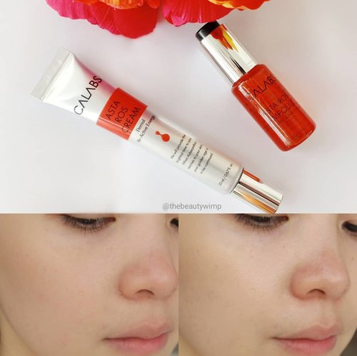 As for me personally, ingredients like retinol and vitamin C are powerful and potent antioxidant for skin. However, have you ever heard about Astaxanthin? After some researches, i found out that this particular ingredient (Astaxanthin) has higher performance in anti aging and brightening than vitamic C , 800 times stronger than CoQ10, 550 times stronger than green tea catechins and 75 times stronger than alpha lipoic acid. Astaxanthin also has incredible UV-blocking properties, which helps to assist the skin in protecting itself against sun-related damage.Im in awe!Calabs has launched their newest products focusing in antioxidant, Astaros ampoule and Astaros Cream, they help to fight free radicals and tackle anything from pigmentation also wrinkles. These two products worked best in pairs.Both's informations are still in full Korean, so i have to capture-translated it into English to see the ingredients. I spotted Niacinamide and Glutathione that are really good for skin brightening.Astaros ampouleIt comes in a tiny plastic bottle with push button dropper, ukurannya memang mini banget yaiyala cuma 10 ml wq.Usage advice sih dipakai langsung ke wajah, however personally its easier for me to mix 1-2 drops with my emulsion as it makes the ampoule absorbs faster into the skin with no stickiness feeling.This ampoule works hand in hand with the Astaros Cream, if you want a maximal result i suggest you to also use the cream right after the serum.This Astaros Cream comes in a slim and small squeeze tube. It's a lightweight cream  that's easy to spread and absorbs so quickly. Sometimes i even layer it again with thicker consistency moisturizer to add extra hydration for night time routine. (Lanjut kolom komen)