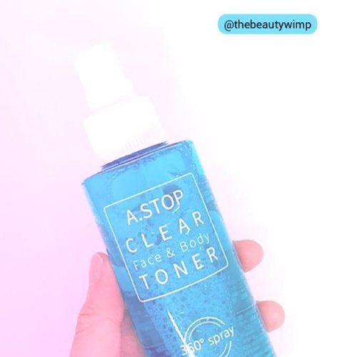 A.Stop Clean Face &  Body Toner.A toner that is designed to address troubled and acne prone skin.The toner's packed in a slim transparent spray bottle that we are able to see what color the toner is. Yep, it is blue and looking decent. The spray nozzle for this bottle is fine and well dispersed.More complete details is up on my blog (Link In Bio)So imma jump straight to the conclusion, I pretty much enjoy using this toner as it gives a nice refreshing effect to my skin and It doesnt break me out. It is great for calming redness and cooling for those with acne prone/troubled skin throughout the day..Care to try it out? Go check out my HICHARIS SHOP https://hicharis.net/thebeautywimp/dO4(Diskon nya lumayan 👌dan local shipping)#a.stop #toner #CHARIS #CHARISSTORE #charisAPP @hicharis_official @charis_celeb