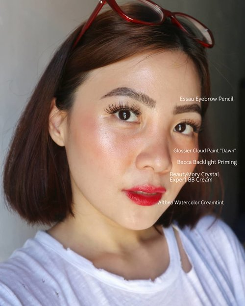 My hang out makeup / no-makeup makeup look whatsoever, as I only wear sunscreen and sanitary mask on daily basis (read : kumus) 😂 . Deets After some pile of morning skincares @beccacosmetics backlight priming filter @beautymory_korea Crystal BB Cream (reviewed it on my blog) from @cosmetic_jolse @glossier #cloudpaint Dawn @essau.beaute Eyebrow pencil black @altheakorea watercolor tint #1 . . . #fakeupfix #makeupforbarbies2 #anatasiabeverlyhills #peachyqueenblog #abhbrows #bretmanvanity #nyxcosmetics_indonesia #amrezyshoutouts  #beautygram#morphebrushes #instamakeup #undiscovered_muas #morphebabe #slave2beauty #wakeupandmakeup #makeupobsession #fiercesociety #bunnyneedsmakeup #hypnaughtymakeup #makeupinspiration #clozetteid #beautybay