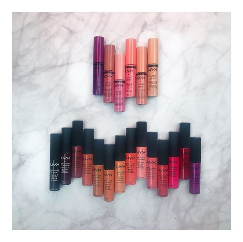 Look at these colorssss!  You kno what i love about @nyxcosmetics_indonesia ??? They have lots and lots of range color in a good price.. 😂🤓😜🤑 . .  My fav shade for butter gloss are eclair, creme brulee, and angel food cake.. For Soft Matte Lip cream, my fav are Sao Paulo, Milan, Athens, Cannes, Istanbul, Abu Dhabi, and many more! Lol.. . . @indobeautygram @beautynesiamember #indobeautygram #indobeautyvlogger #indobeautyinfluencer #instabeauty #beautynesiamember #clozetteid #dailygirlsfeed #universomakeup #wakeupandmakeup #universodamaquiagem_oficial #undiscovered_muas #bretmansvanity #featured_my_makeup_art #makeuplover #makeupenthusiast #beautyenthusiast  #wakeupandmakeup #instamakeup #instadaily #NYXCosmeticsID #softmattelipcream #flatlays #slaytheflatlay #reneflatlays