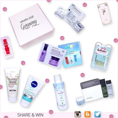Join my Beauty Products GIVEAWAY- OPEN INTERNATIONALLY. ( 4 days left ) END: 13 May 2016  All you have to do for a chance to win is : 1. Click the link on BIO 2. follow all the steps rules, otherwise your entry will not be valid.  What will you get : 1. Etude House Every Month Cleansing Cream Soft and Moist 2. Nivea White Oil Control Make Up Clear Foam 3. L'OCITANE Reine Blanche -  Whitening Sleeping Pack and Whitening Serum 4. Primera Sprout Energy Skincare Gift Set 5. The History of Whoo Sample Kit 6. Lactacyd White Intimate - Whitening 7. Hadalabo Perfect x Simple 8. Eyelid Sticker 9. Innisfree Sample Kit Orchid Enriched Essence and Orchid Enriched Cream 10. Fresh Cherry Tint - Etude House  #clozetteid #giveaway #miharujuliegiveaway #beautyproducts #etudehouse
