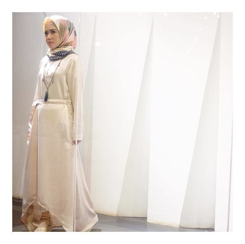 Dress up beautifully | thank you @cha_thelabel looove the dress so much ❤️ | scarf from @v1969_scarf #ootd #hijabdaily #hijabstyle #clozetteid #clozetteambassador