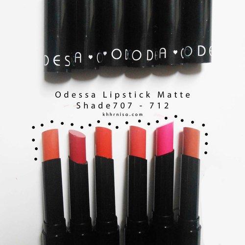 Sekarang giliran matte lipstick Odessa @eternallybeauty yang shade 706-712. Review lengkapnya udah up di blog aku bisa klik link di bio ya💕 . #BeautiesquadxEternallyBeauty #OdessaCosmetics #EternallyBeauty  #Beautiesquad #mattelove #BeautiesquadxEternally #ClozetteID #lipstick #mattelipstick #reviewlipstik #beautyblogger #bloggerindonesia #lipstikmurah