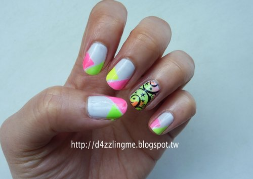Neon Starry Nails