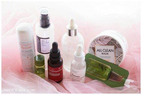 About last night 😆😆😆. . . . ❤ #heimish all clean balm as first cleanser . ❤ #sensatiabotanicals acne clarifying as second cleanser. . ❤ #cosrx aha 7 whitehead lower liquid. . ❤ #innisfree green tea moisture skin. . ❤ #innisfree green tea seed serum. . ❤ #tosowoong propolis sparkle ampoule. . ❤ #therordinary niacin + zinc. . ❤ #trilogy rosehip oil + #avene termal spring water . . . #mykittybeauty #clozetteid #skincareroutine #asianskincare