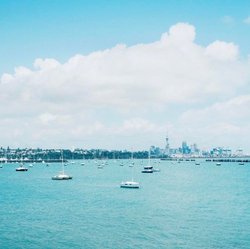 Kenapa sih orang sering menyebarkan kebencian? Karena cuma itu yang mereka. Coba hatinya penuh kebaikan, maka kebaikan pula yang akan disebarkannya. (Pernah baca kata-kata ini somewhere in the internet) dan valid banget sama keadaan sekarang, apalagi menjelang pilkada. .  Daripada gerah liat kaum sumbu pendek, mending lihat yang adem-adem sejuk kayak kini dulu lah. View from the harbour with Auckland Tower as the background. ❤️ .  #NewZealand #ViaductHarbor #Ocean #Sea #ClozetteID #Travel #Lifestyle