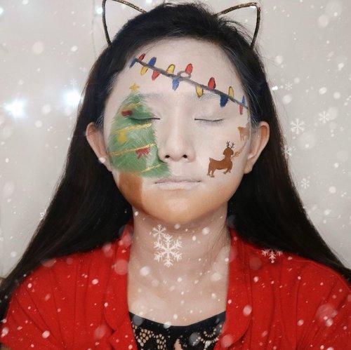 Art gagal nih, pada sadar gak gagalnya dimana??🤣🤣 . #clozetteid #makeupart #art #artmakeup #christmastree #christmas #makeup #artchristmas #christmastart #makeupkarakter