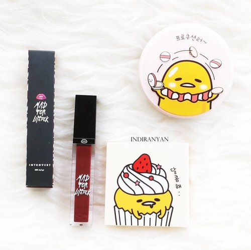 Recently purchased makeup : •Mad For Lipstick - Introvert. •Wet n Wild Megalast Lipstick - Spiked with Rum (not in picture). •Holika Holika X Gudetama Lazy & Joy - Red Velvet. •Holika Holika X Gudetama Lazy & Joy - Photo Ready Cushion BB Case (not makeup I know). 一 #ClozetteID #cidmakeup