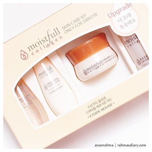Etude house moistfull collagen skin care kit travel size. hadiah giveaway bulan lalu, baru di review sekarang. Paling malas deh coba skin care kit. banyak tahapanya. Bagaimana hasilnya? cek here http://www.rahmaediary.com/2016/11/review-etude-house-moistfull-collagen.html #clozetteid #skincare #etudehouse #moistfullcollagen #Ktrend #bloggerlife #beautyreview
