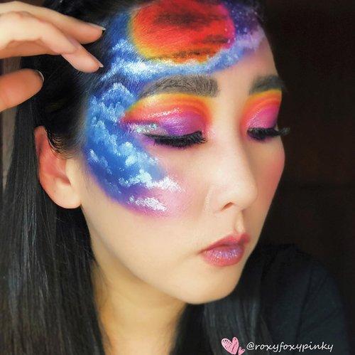 "Look kemaren yang banyak ditanyain.. Inspired by Pinterest (ga tau IG nya apa)Kalau ada yang tau please info aku 🙏🏻.All using Eyeshadow no face painting ❤️@beautyglazed ""Color Studio & Neptune"".Lipcream @raikubeauty Glitter - China Brand (ga tau merk apa) handaiyan & focallureAwan2 itu sebagian @nyxcosmetics_indonesia jumbo pencil, sebagian pencil brand cina.Eyeliner @silkygirl_id Soflens @japansoftlens ""Neoluna Grey"".Complexion @revlonidEyebrow @lakmemakeup Eyelash @loreca.lashes ""Blossom""Brush @jacquelle_official @aerisbeaute @realtechniques_id #eyemakeupinspiration  #eyelook #makeuplooks #makeupideas #wakeupandmakeup #beautybloggerindonesia #clozetteid @clozetteid"