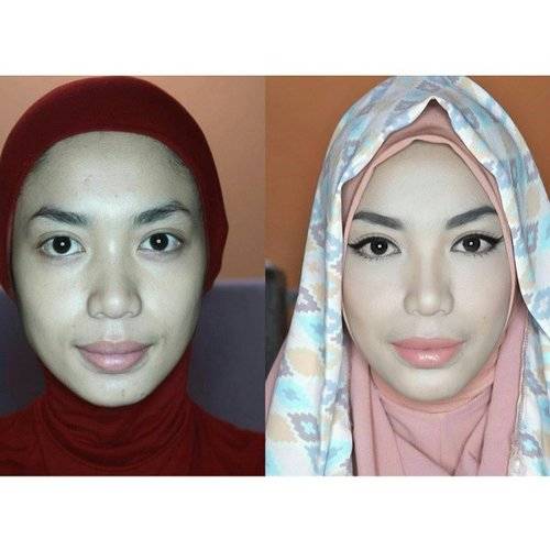 Done filming next makeup tutorial. How to use lighter shade of foundation, and look flawless.  Wait for the whole video on my youtube channel -bunga nirwana-  #ClozetteID #makeupindonesia3 #makeup #mua #vanillahijab #sistervanillahijab #beforaaftermakeup #hijabstyle #valentinocrepe #foundation #wardah #scarfmagz